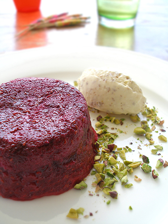 Summer pudding and brown bread ice-cream